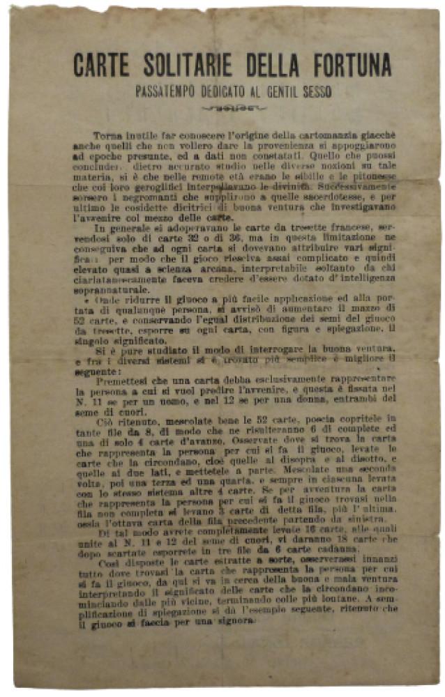 Carte solitarie della fortuna. Torino, Cesare Jona, 1938.