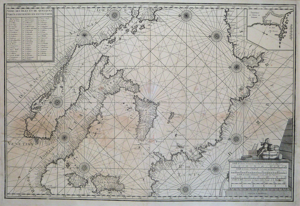 Carta nautica dell'Italia e del Mediterraneo centrale. Marsiglia, Peter Starckman, 1715 - 1726.