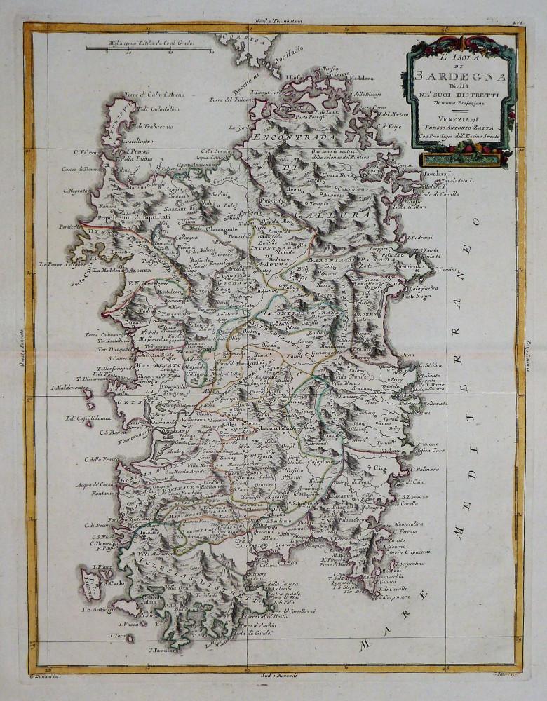 L'Isola di Sardegna divisa ne' suoi distretti. Venezia, Antonio Zatta, 1784.