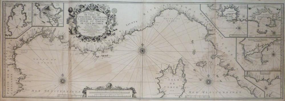 Nouvelle carte de cotes de Catalogne, Roussillon, Languedoc, provence d'Iitalie et partie de l'isle de Corce. Marsiglia, Peter Starckman, 1715 - 1726.