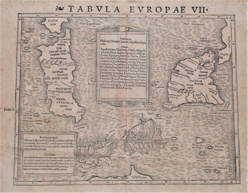 Tabula Europae VII. Basilea, Sebastian Münster, 1550 circa.