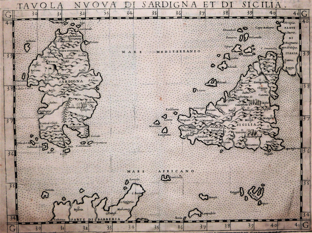 Tavola nuova di Sardigna et di Sicilia. Venezia, Girolamo Ruscelli, 1561.
