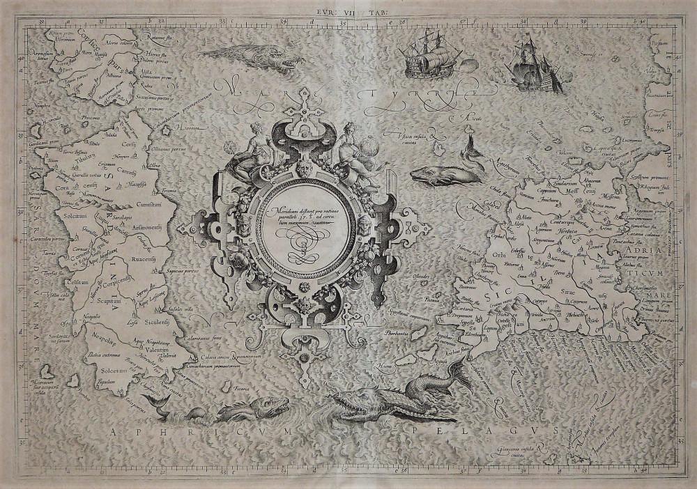 Meridiani distant pro ratione paralleli 37 ½ ad circulum maximum. Colonia, Gerardo Mercatore, 1584.
