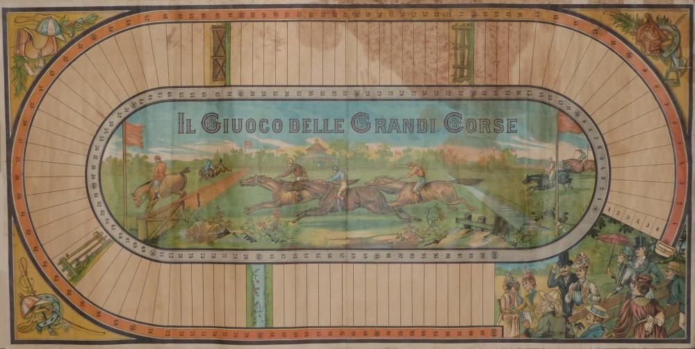 Il giuoco delle grandi corse. Italia settentrionale, 1890 - 1900 circa.