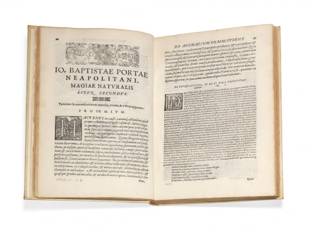 Porta, Giambattista Della. Io. Bapt. Portae neapolitani. Magiæ naturalis libri XX. Ab ipso authore expurgati, & superaucti, in quibus scientiarum naturalium diutiæ, & delitiæ demonstrantur. Napoli, Orazio Salviani, 1589 - (in fine).