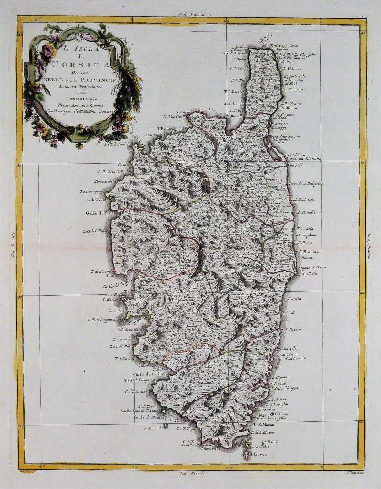 L'Isola di Corsica divisa nelle sue provincie. Venezia, Antonio Zatta, 1782.