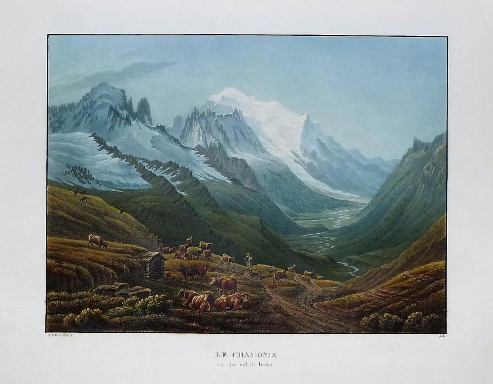 Le Chamonix vu du Col de Balme. Basilea, Samuel Birmann, 1826.