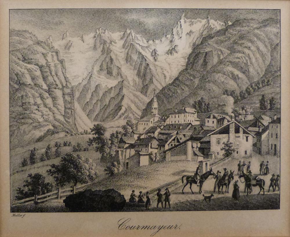 Courmayeur. Christian-Friedrich Müller, 1830 circa.