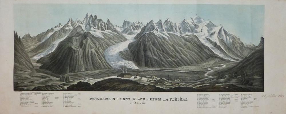 Panorama du Mont Blanc depuis la Flégère à Chamonix. Parigi, Christian-Friedrich Müller, 1835 circa.