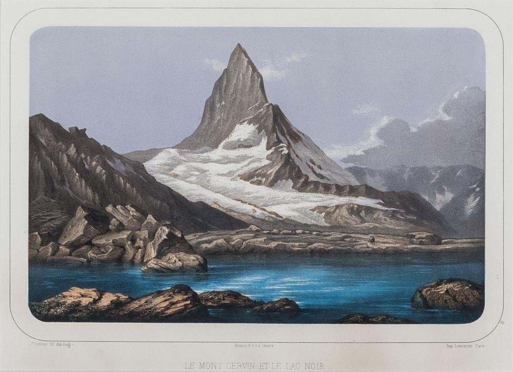 Le Mont Cervin et le Lac Noir. Ginevra, Lemercier, 1850 circa.
